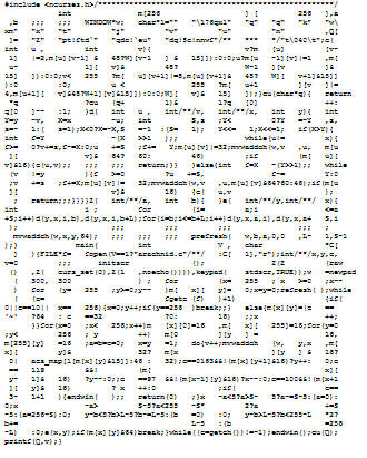 An actual winning entry for most creative use of code obfuscation