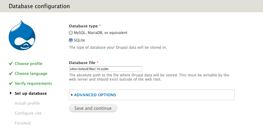 Drupal 7 SQLite Database Configuration