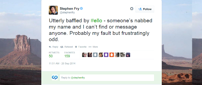 Ello Stephen Fry