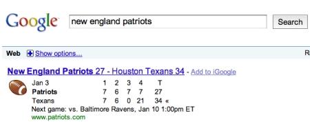 New England Patriots Scoreboard