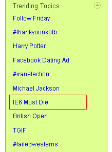 IE6 as Trending Topic on Twitter