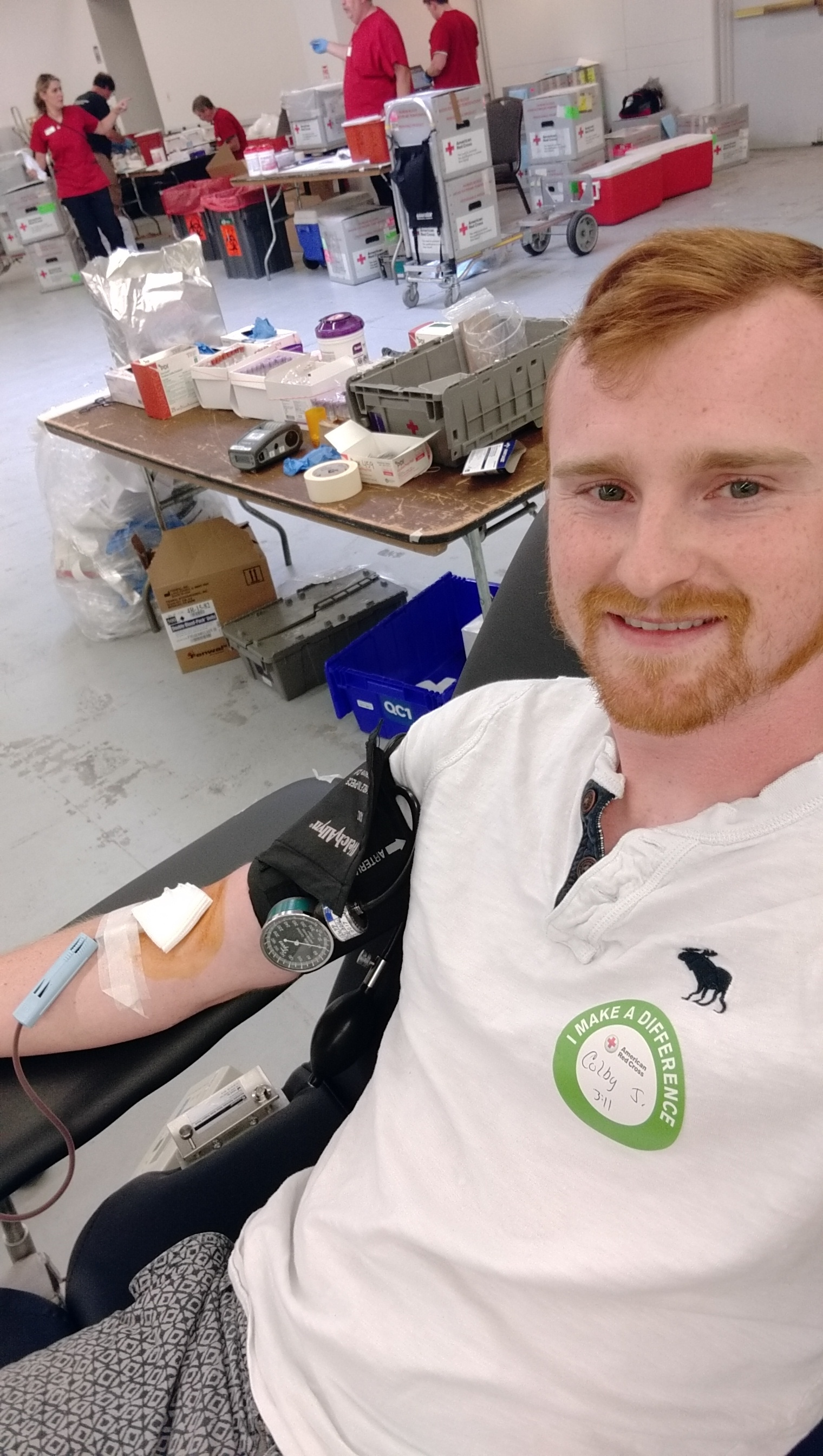 Colby donating blood.