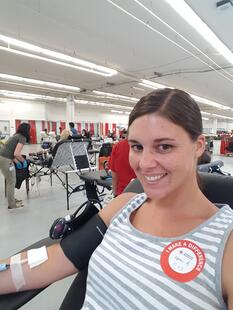 Kami donating blood.