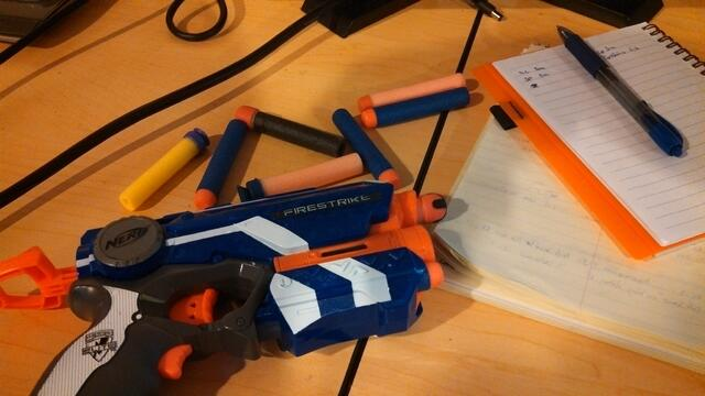 Nerf wars are a common activity at the CommonPlaces' office.