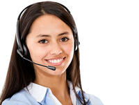 Customer service representative wearing headset - isolated over a white background
