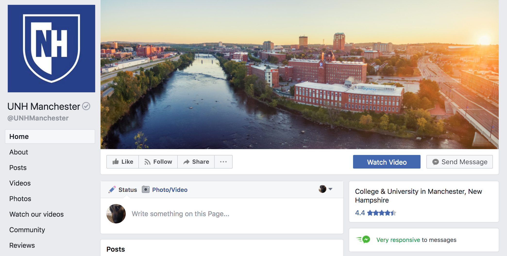 UNH Manchester Facebook page