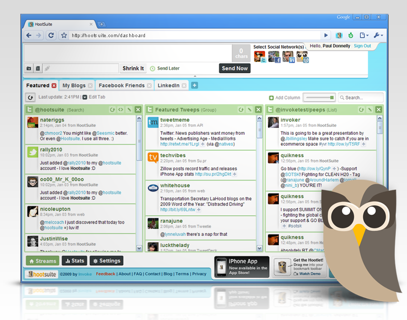 Manage your social media accounts with HootSuite